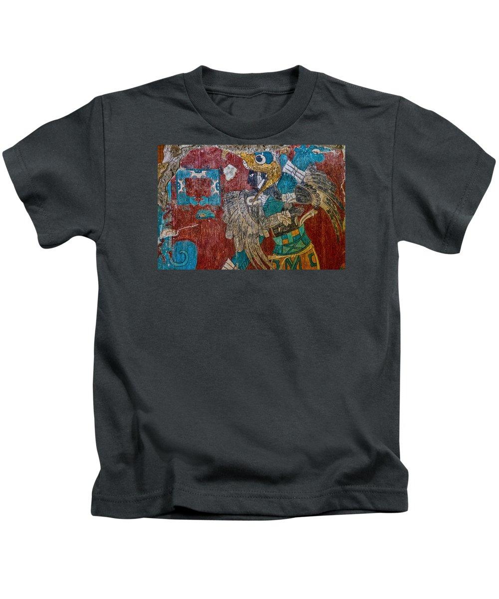 Cacaxtla Kids T-Shirt featuring the photograph Cacaxtla Warrior II by Agustin Uzarraga