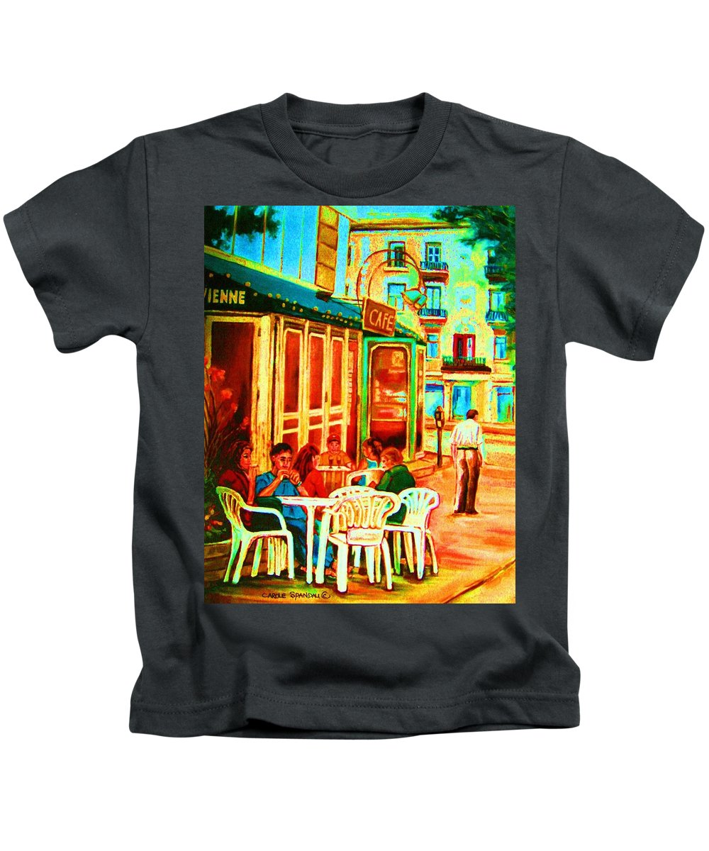 Cafes Kids T-Shirt featuring the painting Cafe Vienne by Carole Spandau