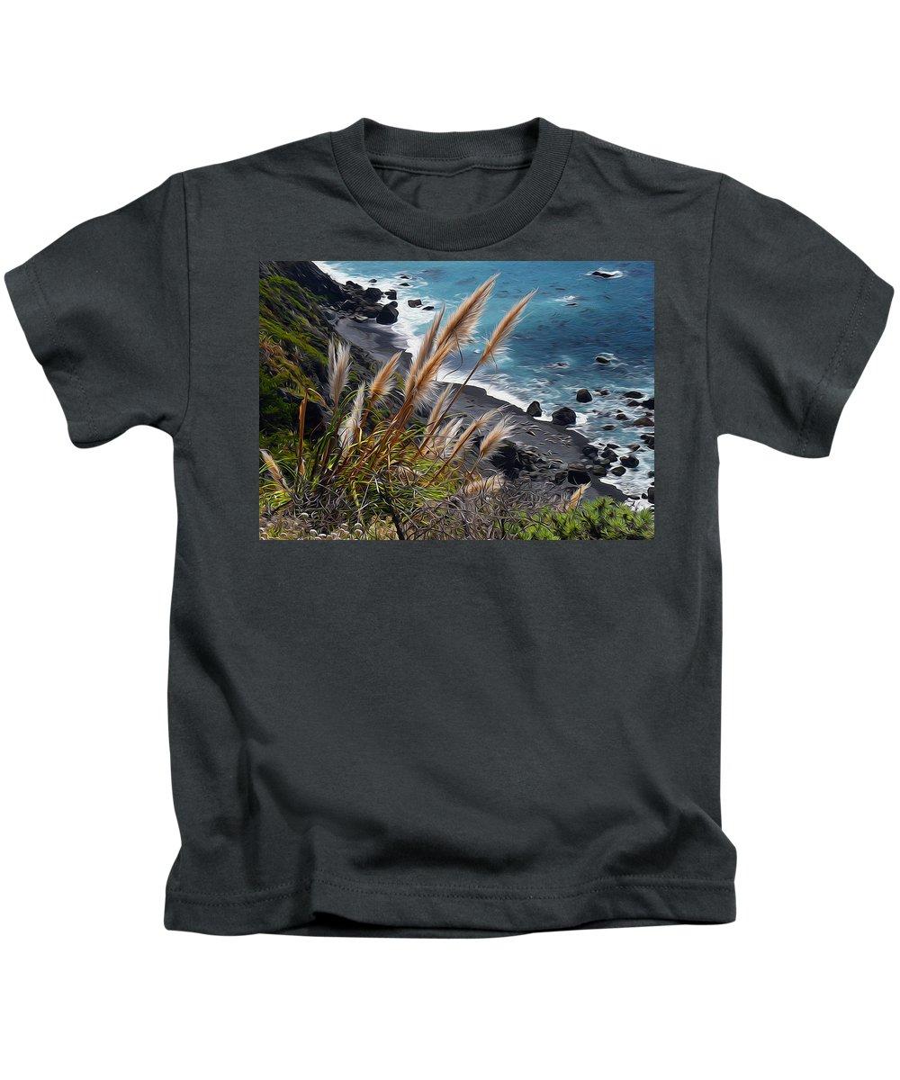 California Kids T-Shirt featuring the painting California Coast by Alex Galkin