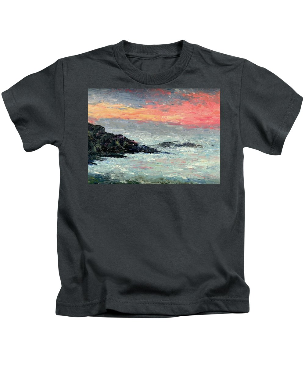 Seascape Kids T-Shirt featuring the painting California Coast by Gail Kirtz