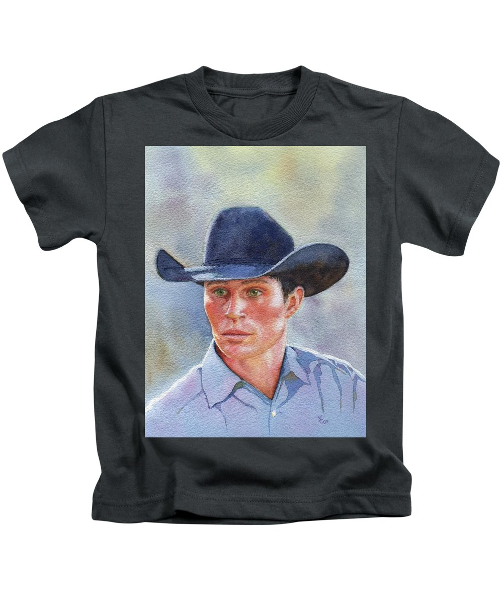 Horse Kids T-Shirt featuring the painting California Cowboy by Valerie Coe