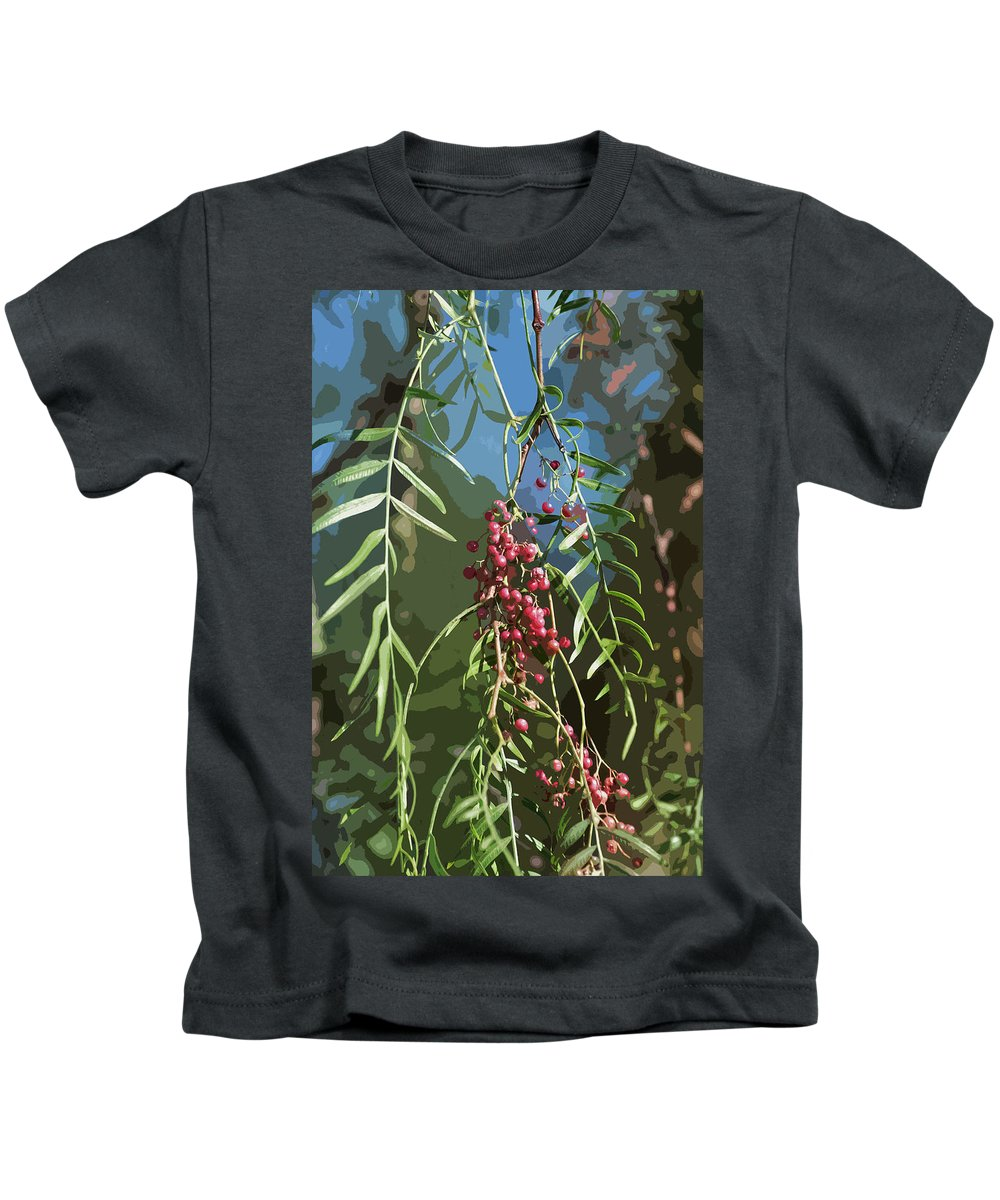 Linda Brody Kids T-Shirt featuring the digital art California Pepper Tree Leaves Berries Abstract by Linda Brody