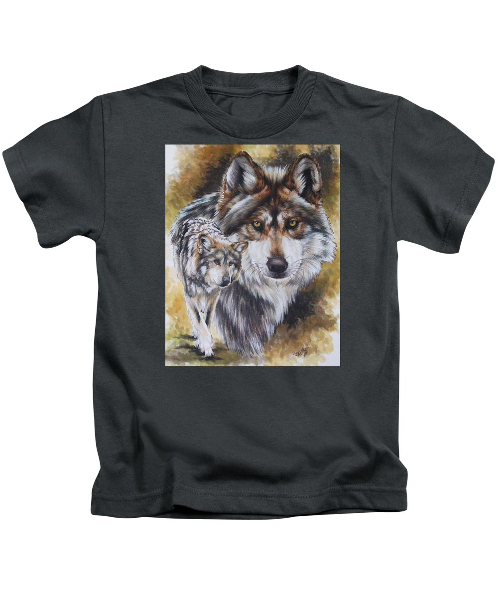 Wildlife Kids T-Shirt featuring the mixed media Callidity by Barbara Keith