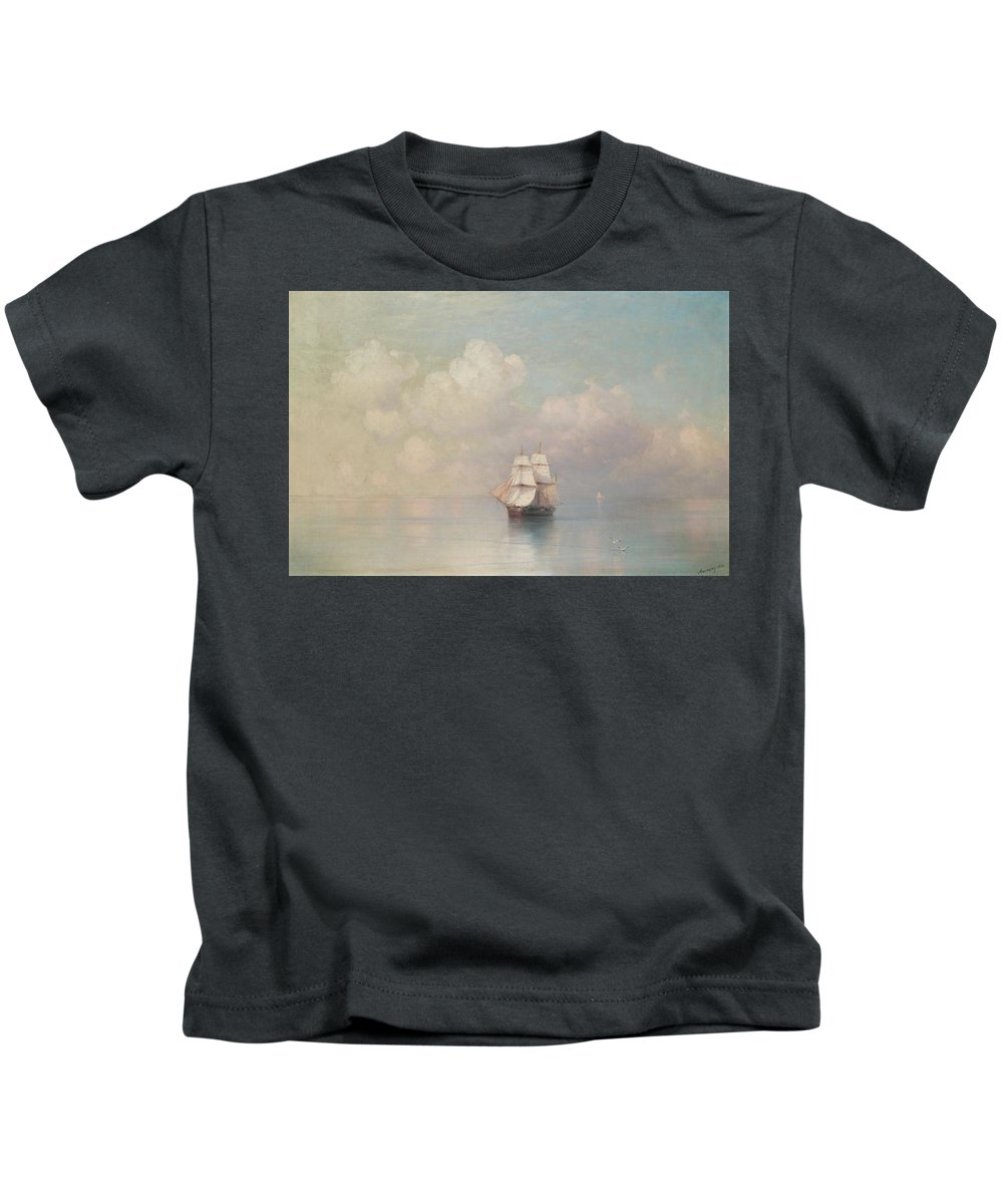 Ivan Konstantinovich Aivazovsky 1817-1900 Calm Seas Kids T-Shirt featuring the painting Calm Seas by MotionAge Designs