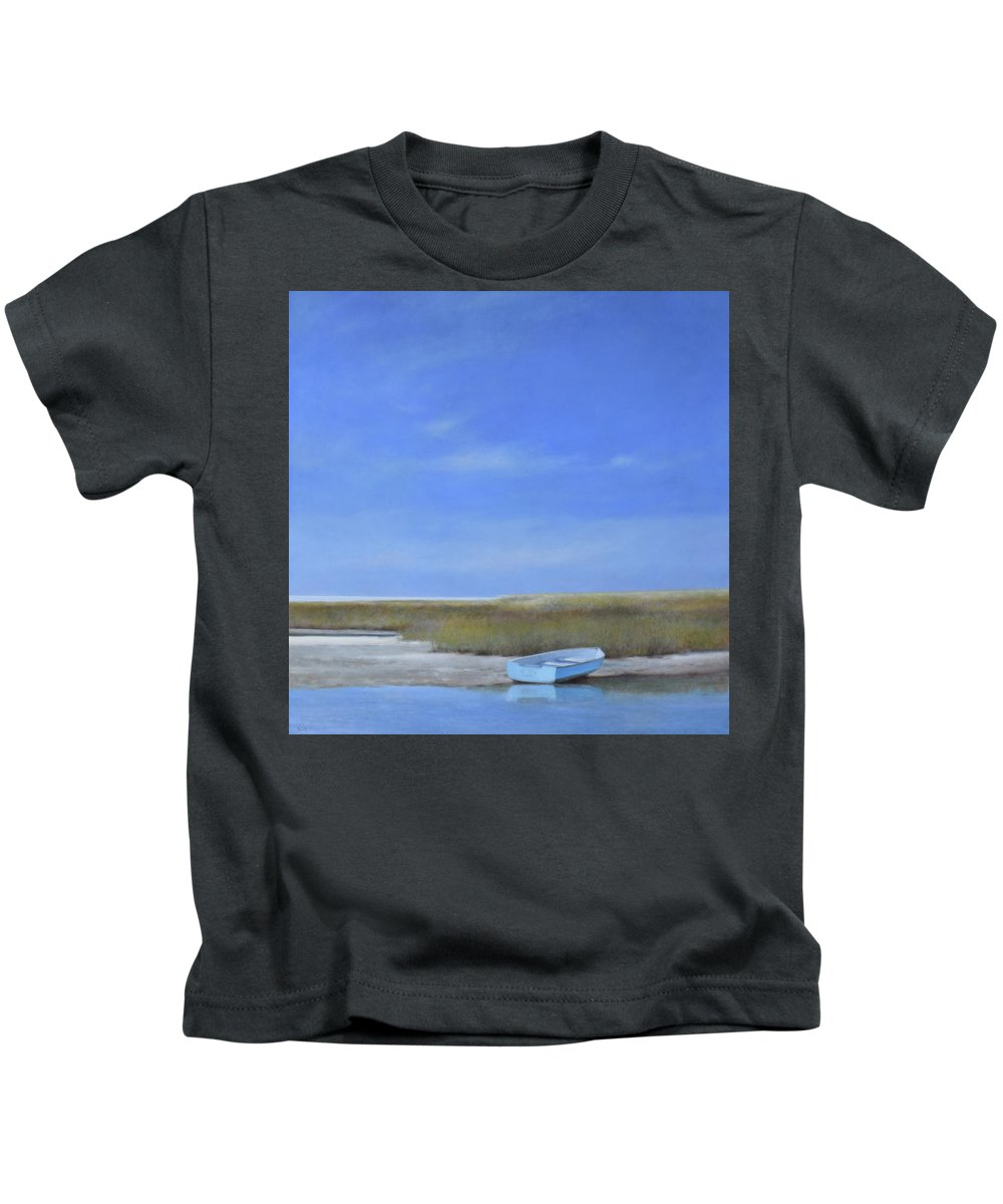 Oil Painting Kids T-Shirt featuring the painting Calm Waters by Linda Puiatti