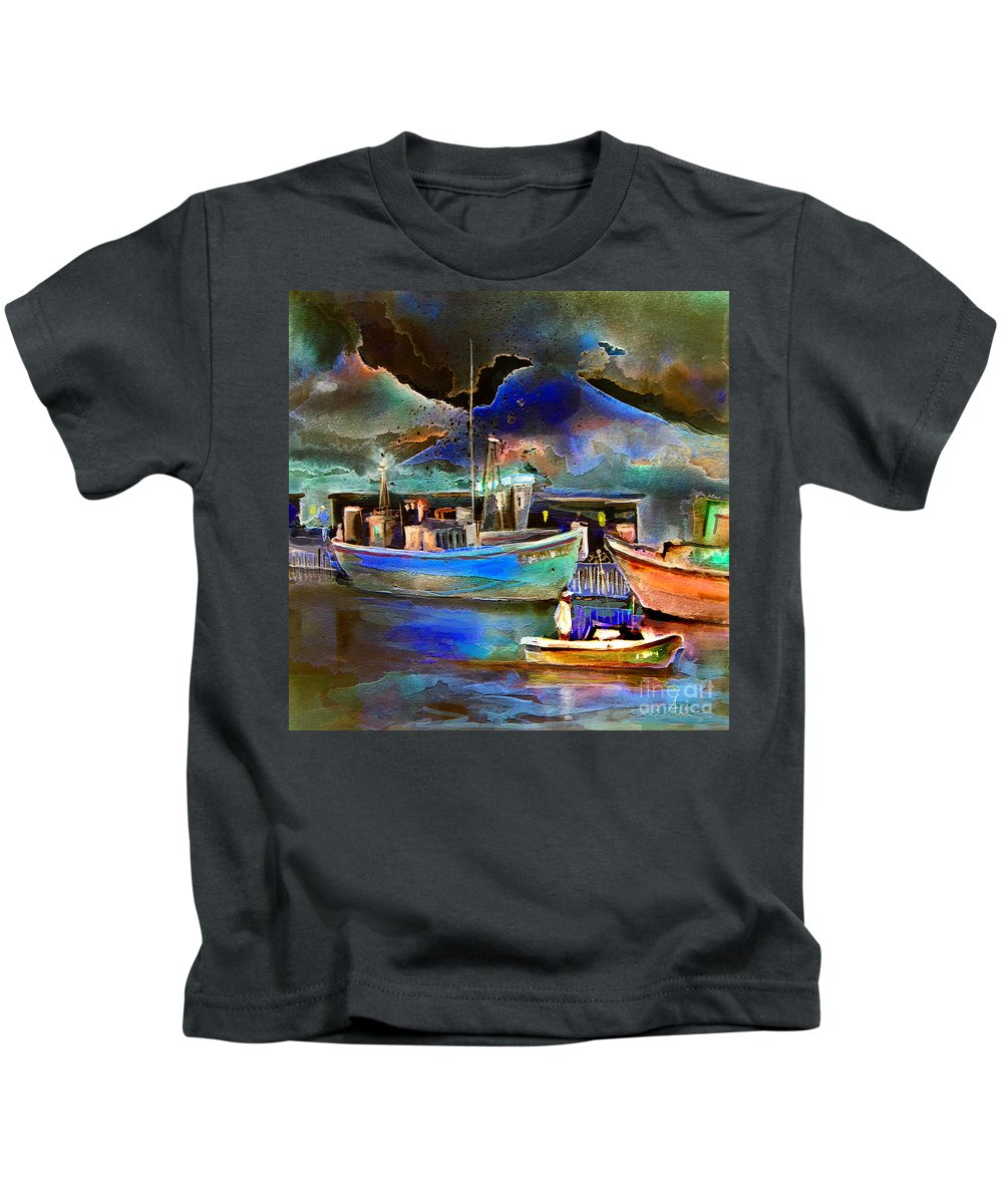 Calpe Kids T-Shirt featuring the painting Calpe 01 Spain by Miki De Goodaboom