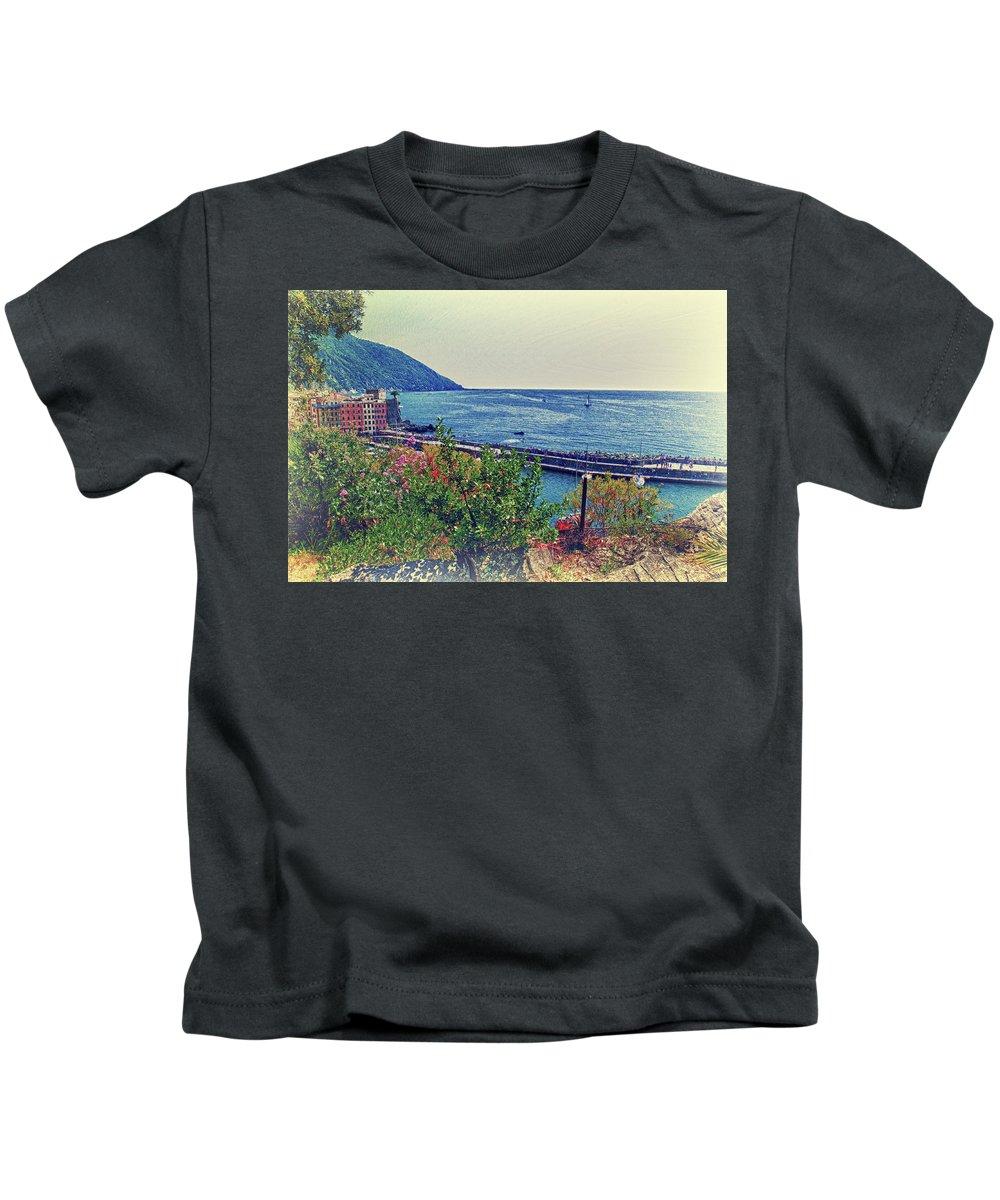 Camogli Kids T-Shirt featuring the photograph Camogli, Panorama Of The Sea. by Adriano Bussi