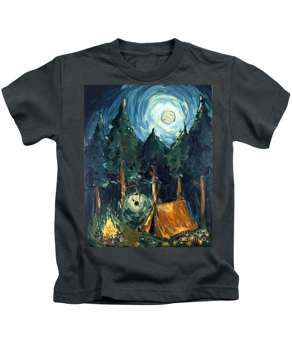 Impressionism Kids T-Shirt featuring the painting Camp At Night by Maria Langgle