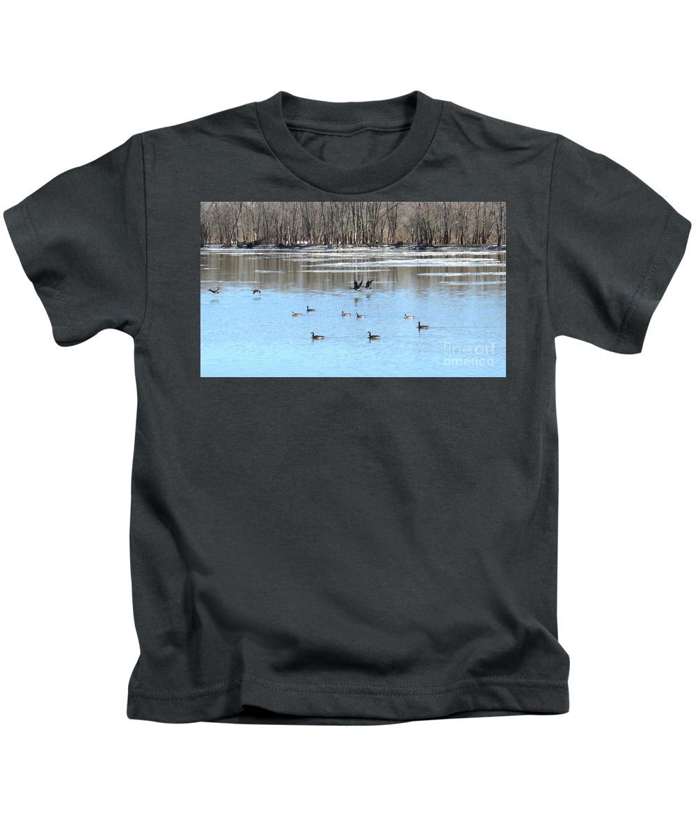 Geese Kids T-Shirt featuring the photograph Canadian Geese In Flight by Sharon Weiss