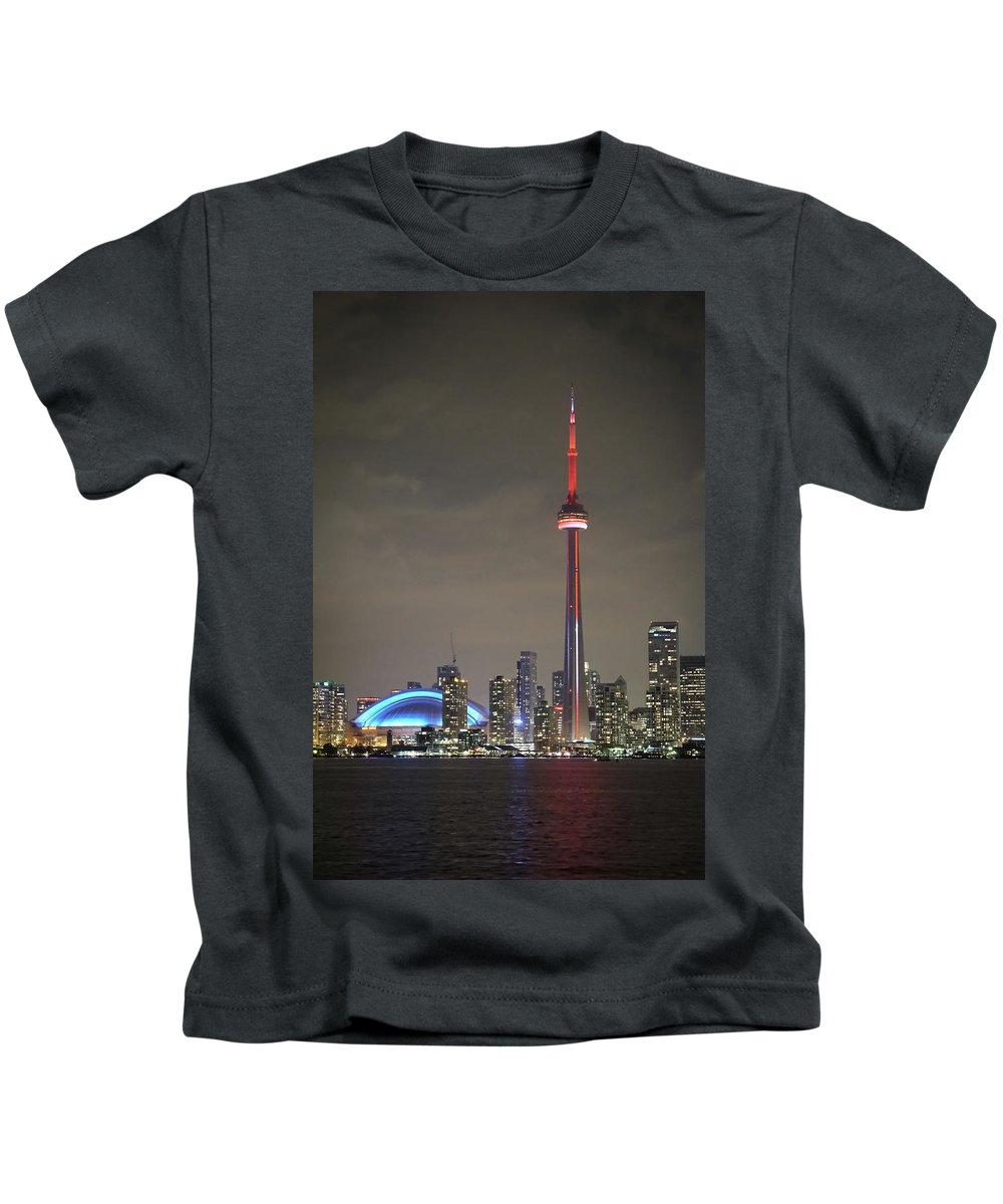 The Cn Tower Is The Biggest Landmark In Toronto Kids T-Shirt featuring the photograph Toronto Skyline by Nick Mares