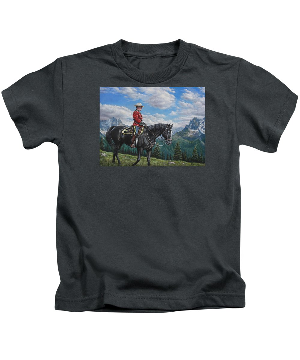 Canadian Mountie Kids T-Shirt featuring the painting Canadian Majesty by Kim Lockman