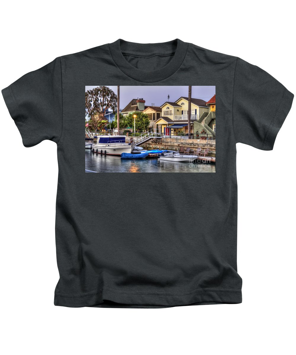 Naples Canals Kids T-Shirt featuring the photograph Canal Houses And Boats by David Zanzinger