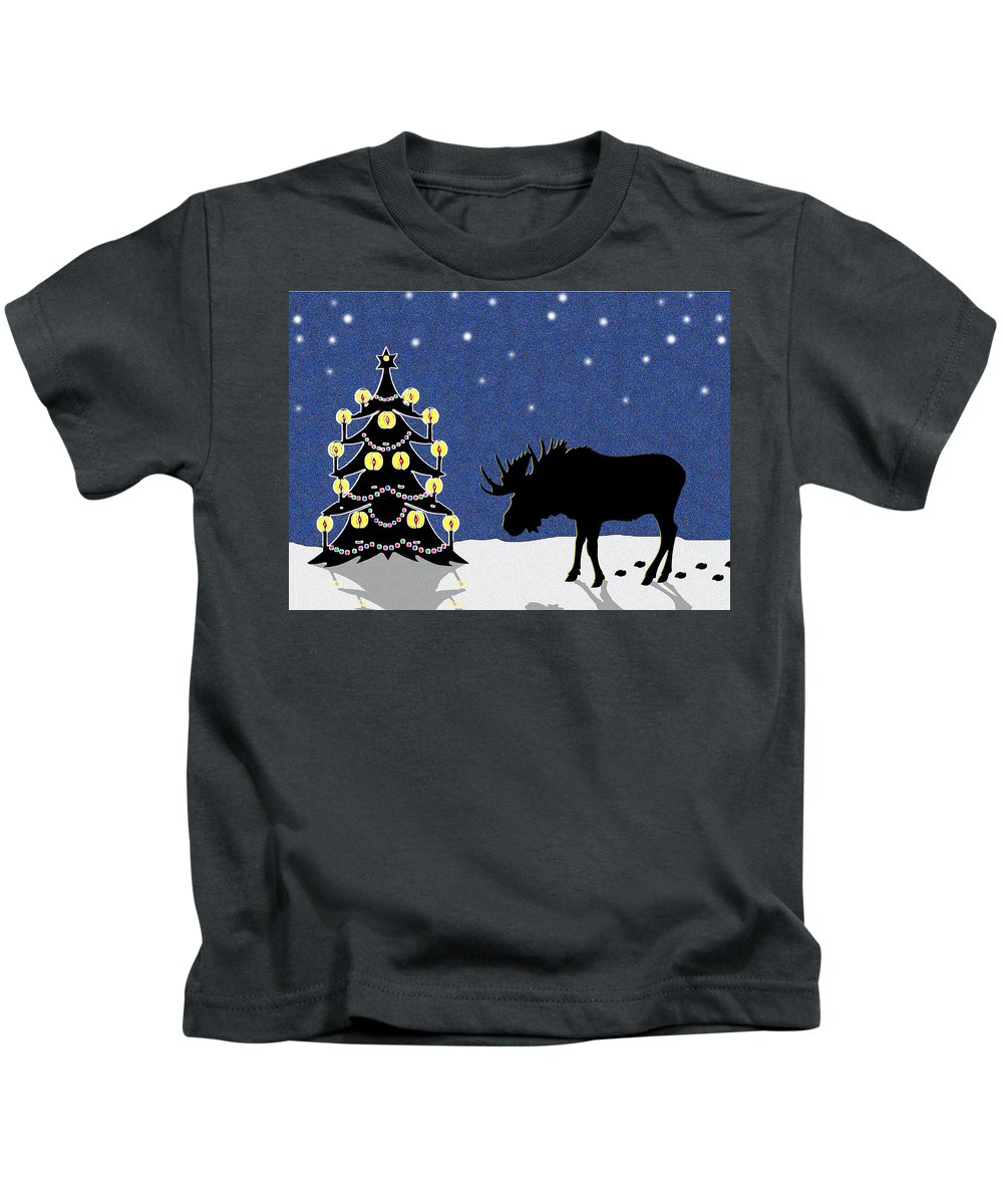 Moose Kids T-Shirt featuring the digital art Candlelit Christmas Tree And Moose In The Snow by Nancy Mueller