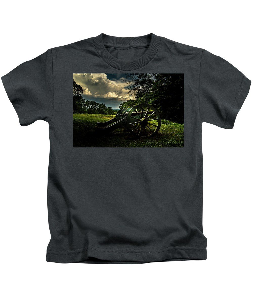 Valley Forge Kids T-Shirt featuring the photograph Cannon Encampment Valley Forge by Howard Roberts