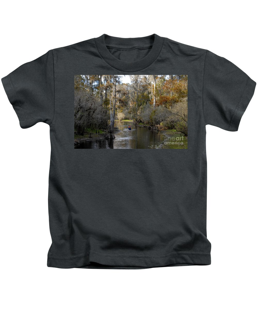 Family Kids T-Shirt featuring the photograph Canoeing In Florida by David Lee Thompson