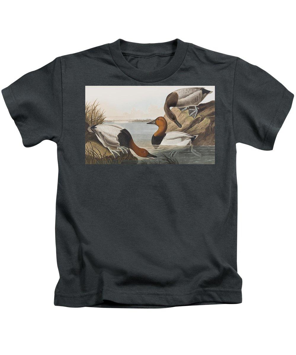 Audubon Kids T-Shirt featuring the painting Canvas Backed Duck by John James Audubon