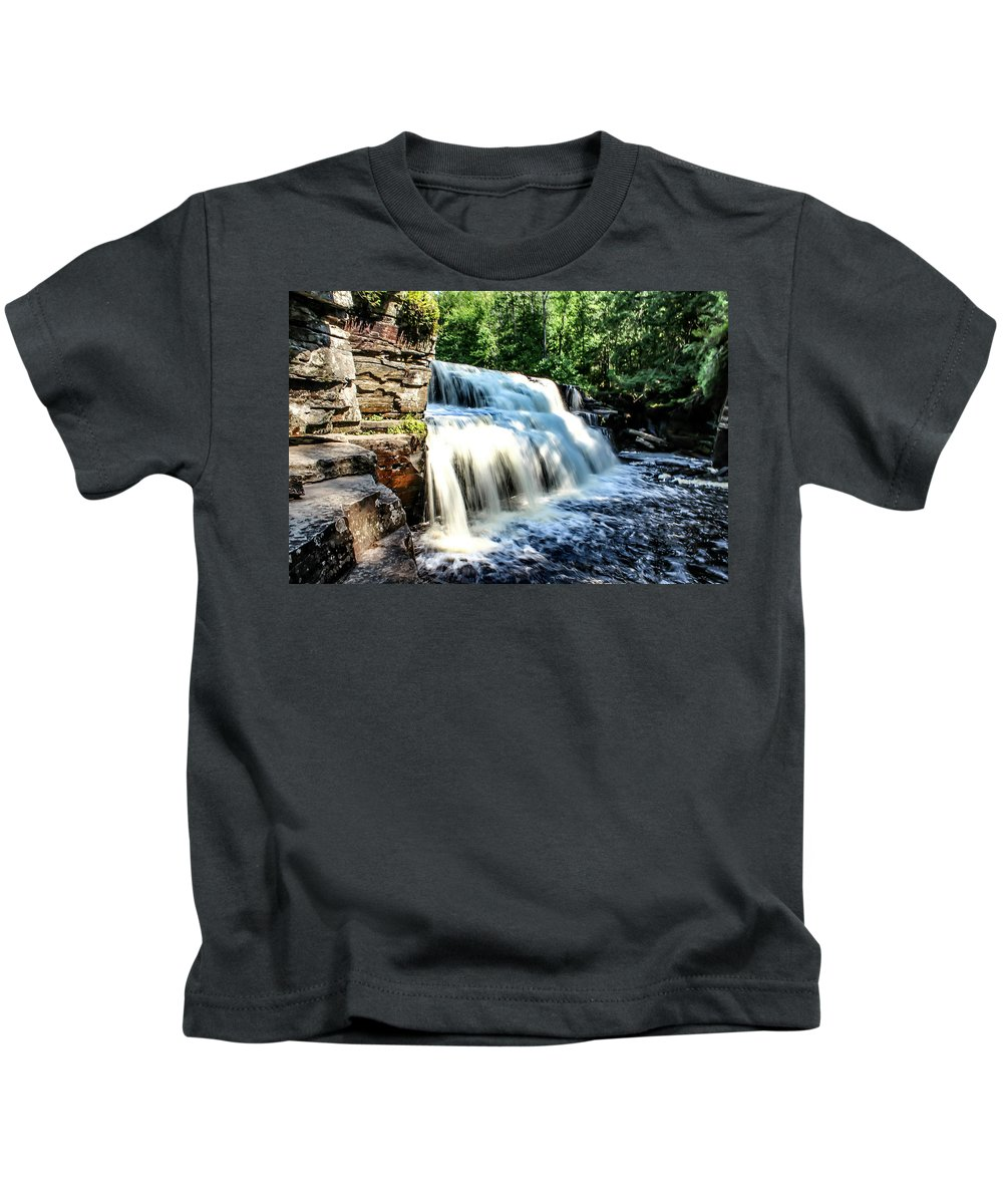 Landscape Kids T-Shirt featuring the photograph Canyon Falls by Mary Stilwell