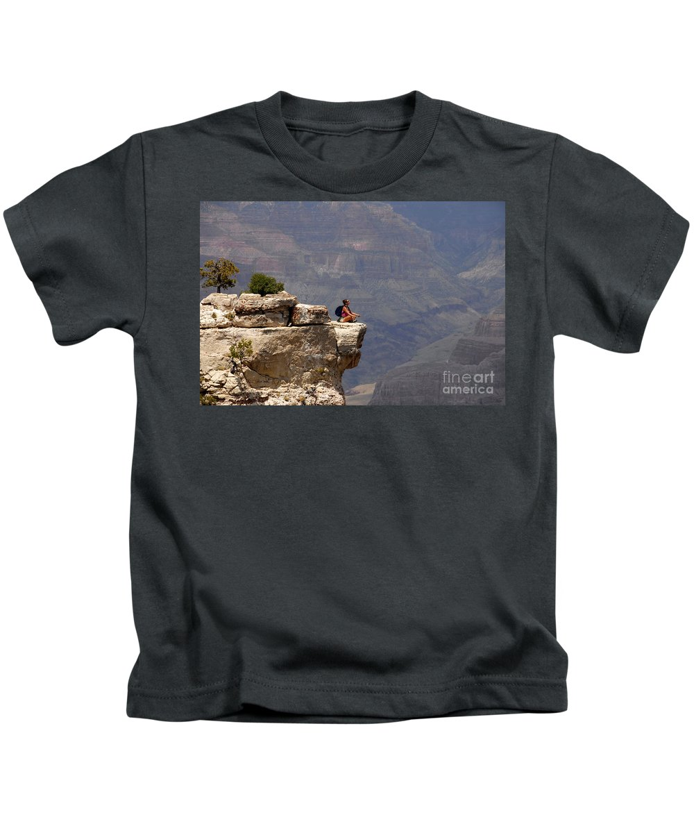 Grand Canyon National Park Arizona Kids T-Shirt featuring the photograph Canyon Thoughts by David Lee Thompson