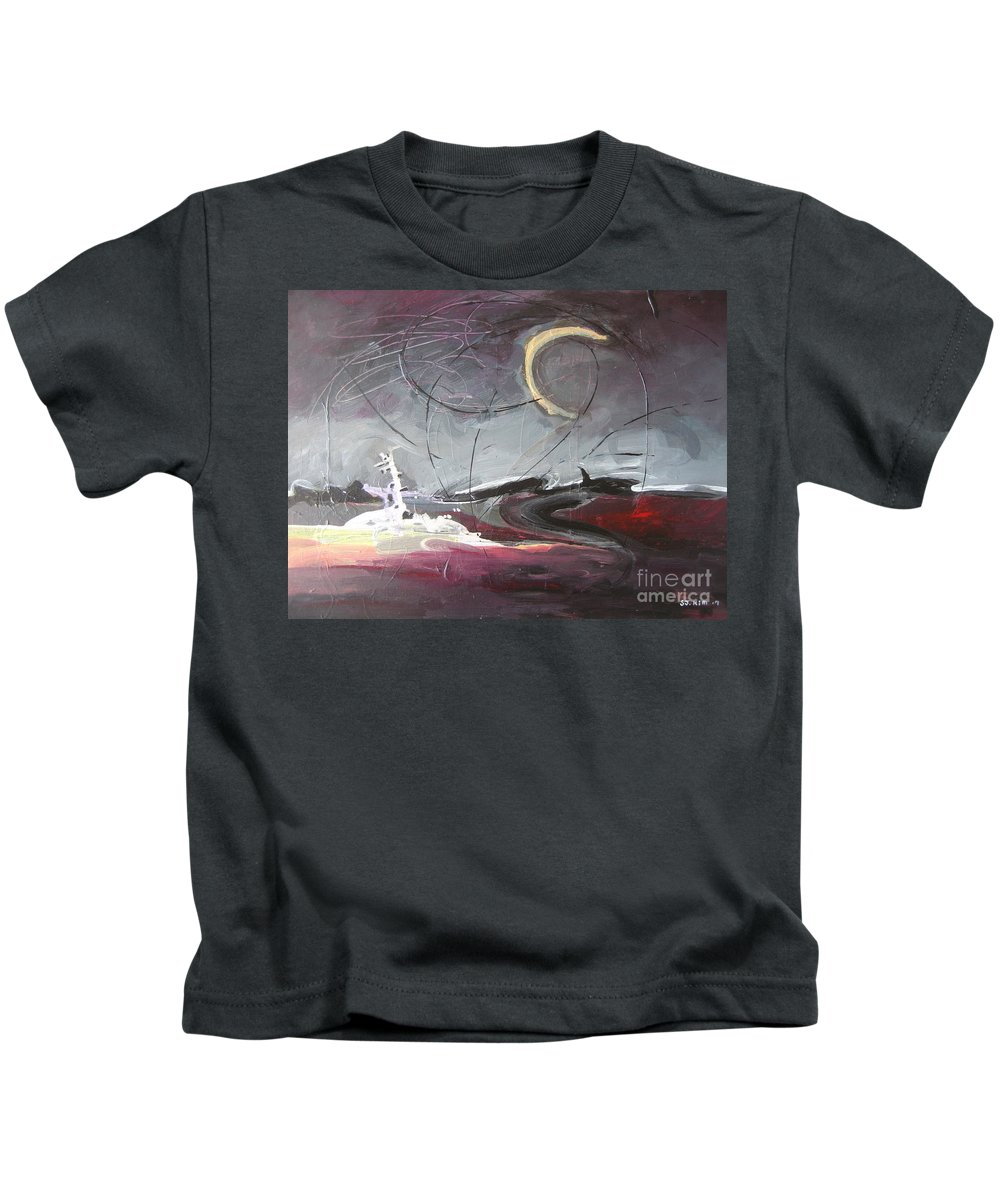 Abstract Paintings Kids T-Shirt featuring the painting Cape St. Mary by Seon-Jeong Kim