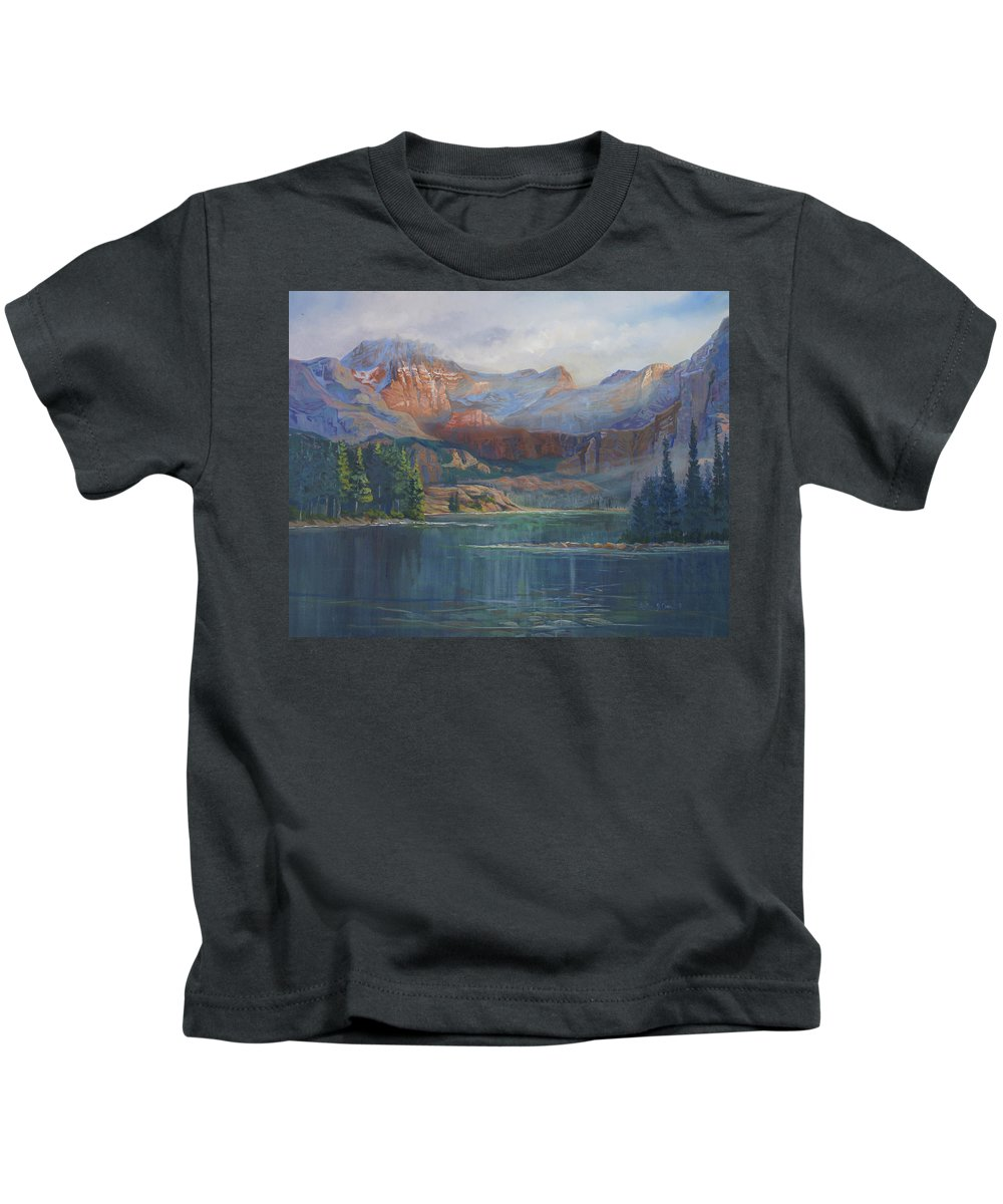 Capital Peak Kids T-Shirt featuring the painting Capitol Peak Rocky Mountains by Heather Coen