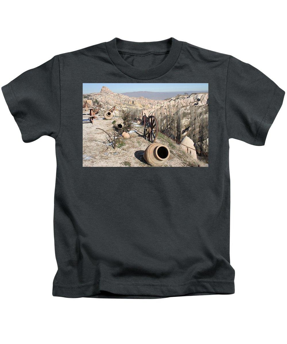 Caves Kids T-Shirt featuring the photograph Cappadocia11 by Yesim Tetik