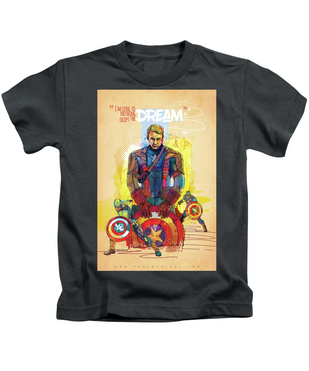 Captain America Kids T-Shirt featuring the digital art Captain America by Phalguni Roy