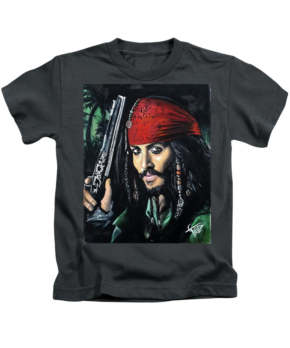 Johnny Depp Kids T-Shirt featuring the painting Captain Jack Sparrow by Tom Carlton