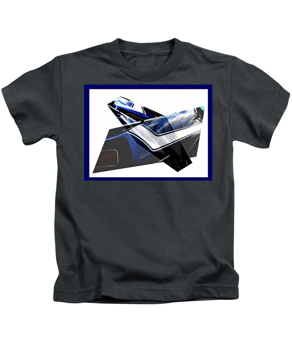 Cars Kids T-Shirt featuring the digital art Car Reflection As Art 3 by Karl Rose