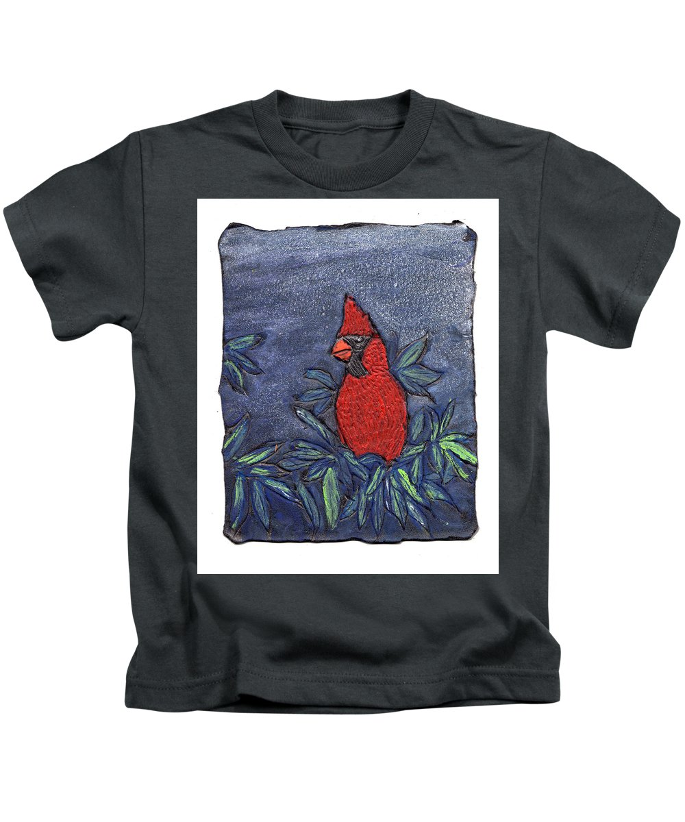 Bird Kids T-Shirt featuring the painting Cardinal In Winter by Wayne Potrafka