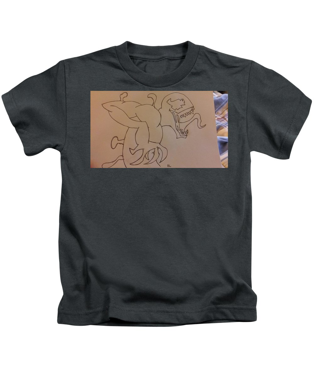 Drawing Kids T-Shirt featuring the drawing Carnage by Bobby Linnane