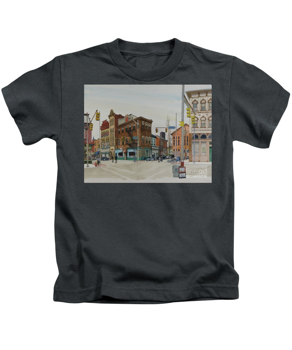 Pittsburgh Kids T-Shirt featuring the painting Carson Street Southside Pittsburgh by Robert Bowden