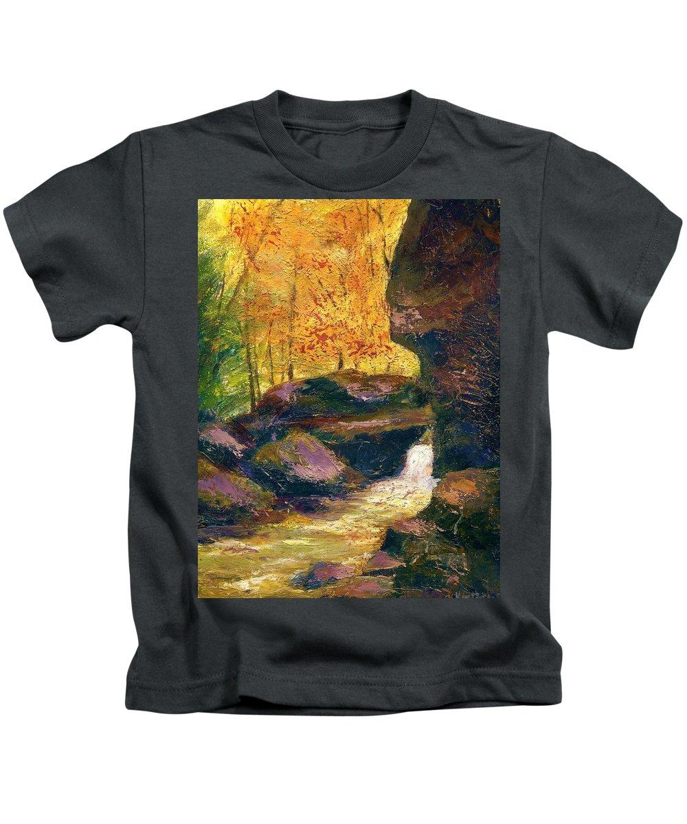 Kentucky Kids T-Shirt featuring the painting Carter Caves Kentucky by Gail Kirtz
