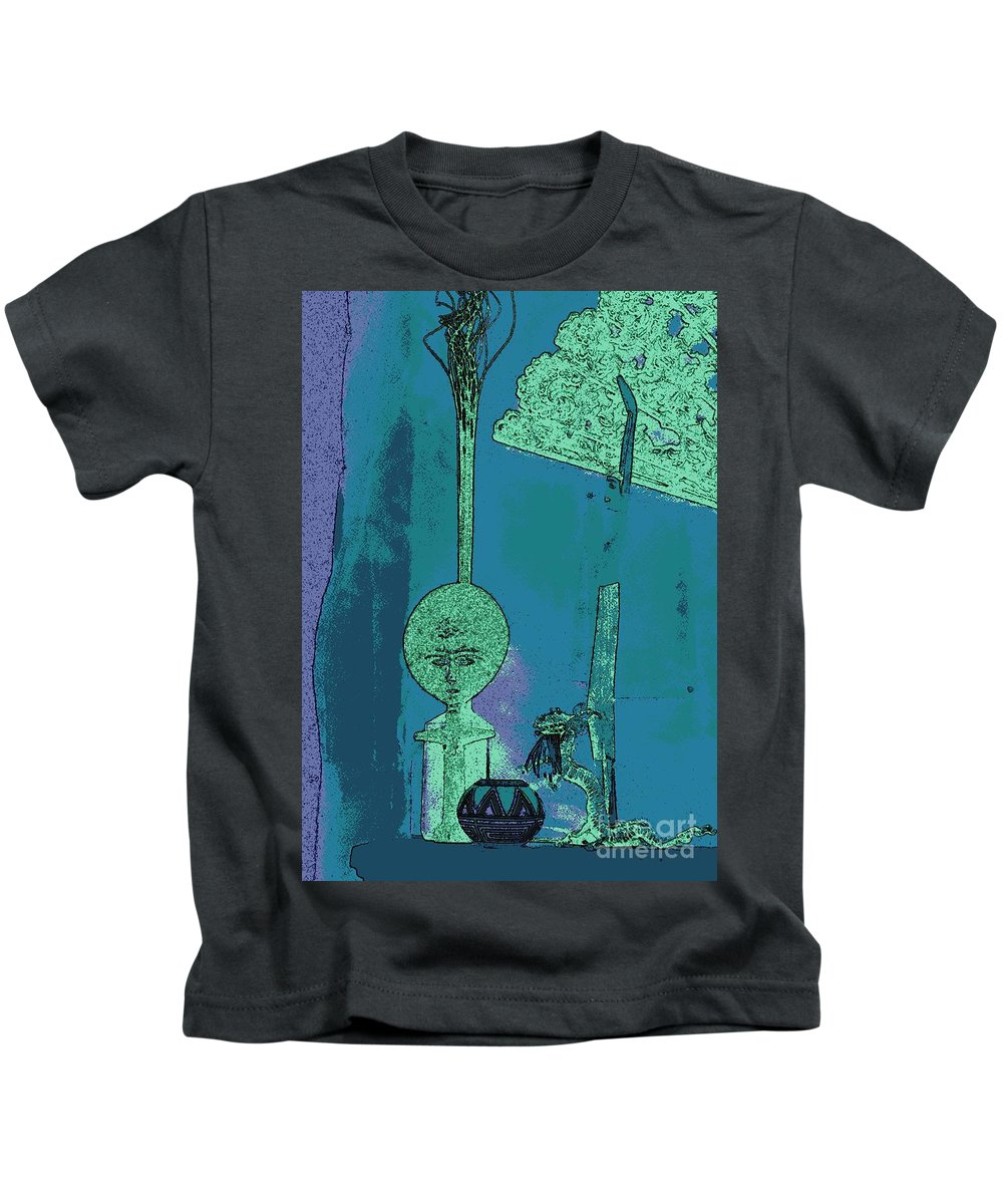 Navajo Pottery Kids T-Shirt featuring the photograph Cartoon Altar Of The Exotic #1 by Jayne Somogy