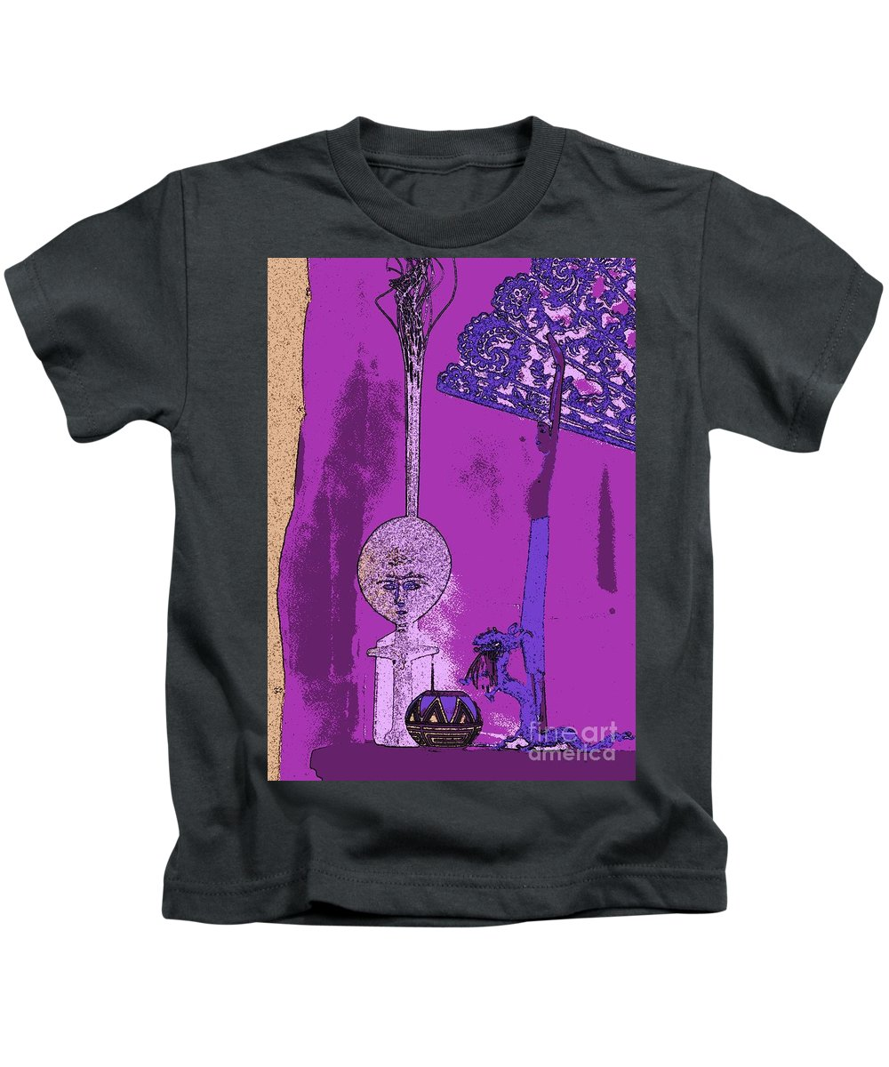 Navajo Pottery Kids T-Shirt featuring the painting Cartoon Altar Of The Exotic #4 by Jayne Somogy