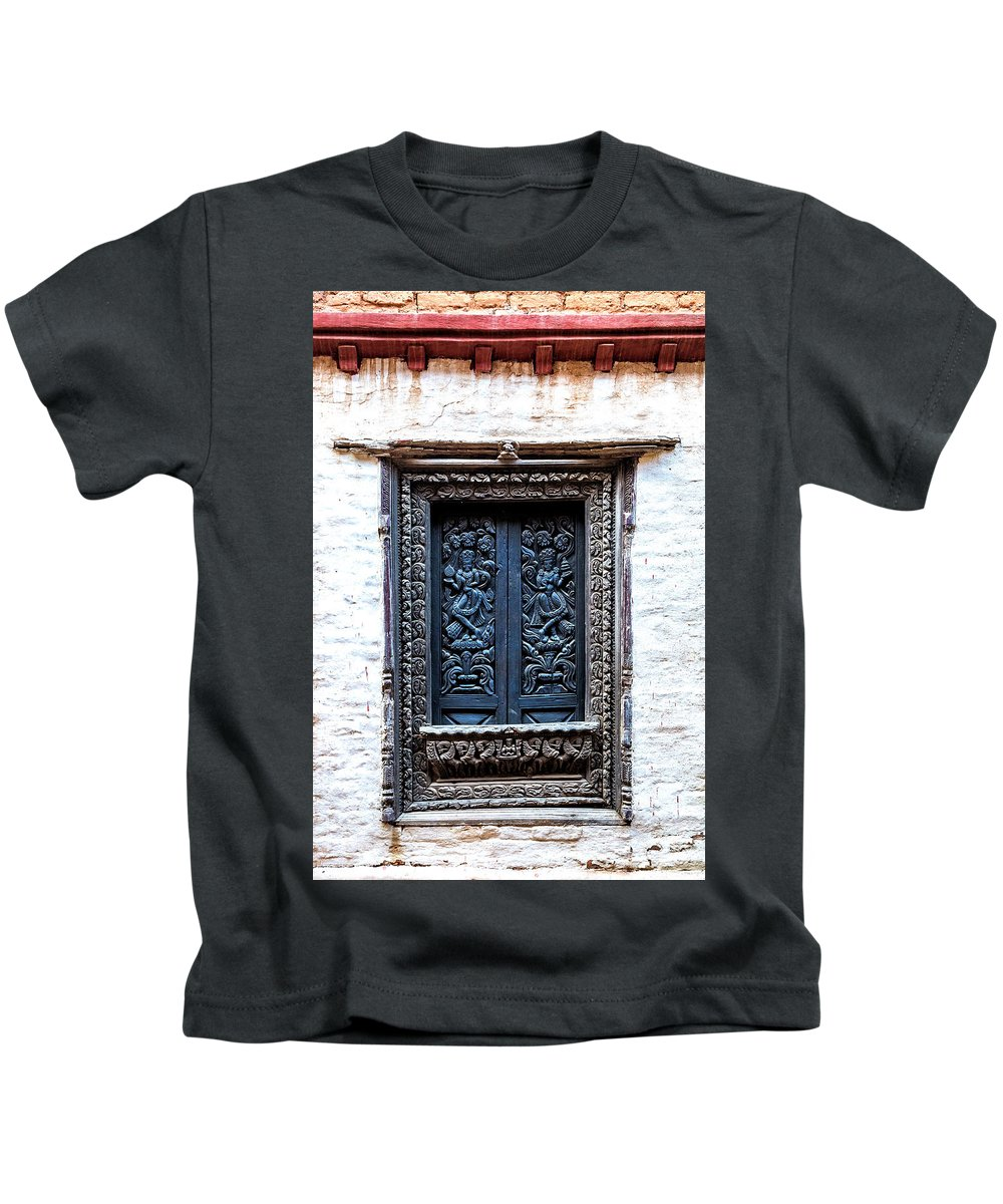 Carved Window Shutters Kids T-Shirt featuring the photograph Carved Window Shutters by Lindley Johnson