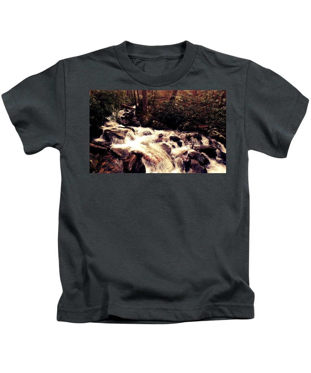 Waterfall Kids T-Shirt featuring the photograph Cascading Waterfall by Avery French