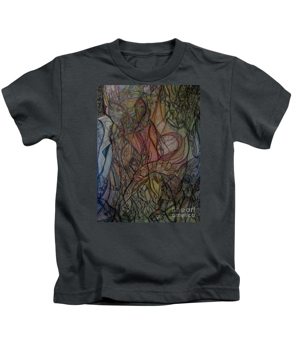 Abstract Kids T-Shirt featuring the painting Cassandra by Stephanie Zelaya