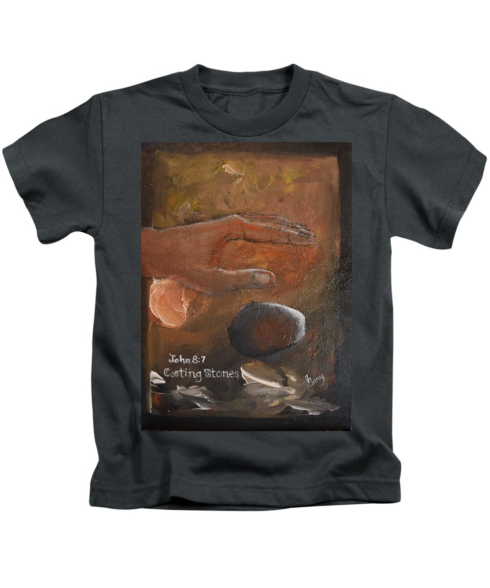 Bible Kids T-Shirt featuring the painting Casting Stones by Gary Smith