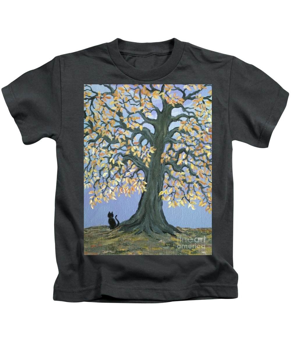 Cat Kids T-Shirt featuring the painting Cat And Crow by Nick Gustafson
