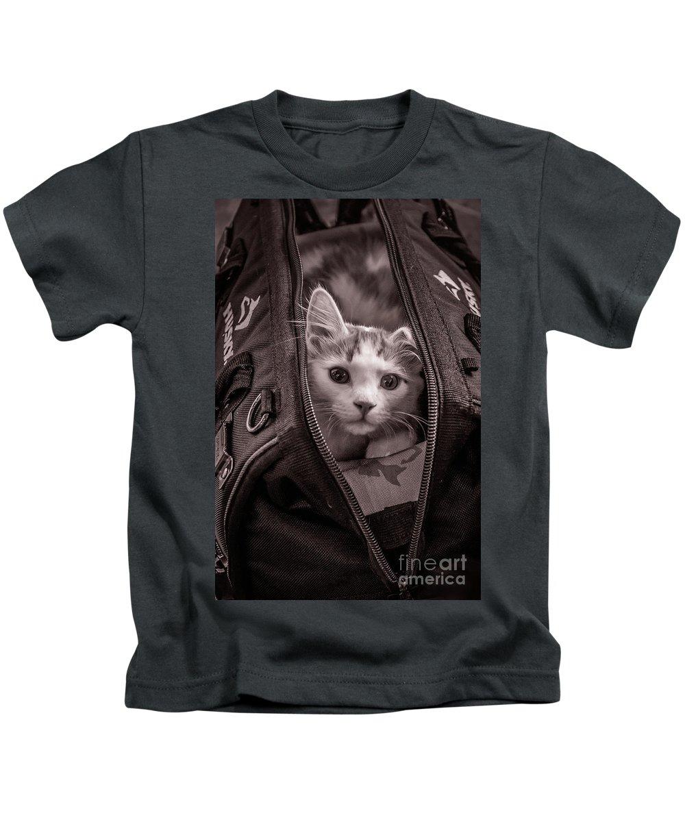 Cat Kids T-Shirt featuring the photograph Cat In A Bag by Wayne Heim