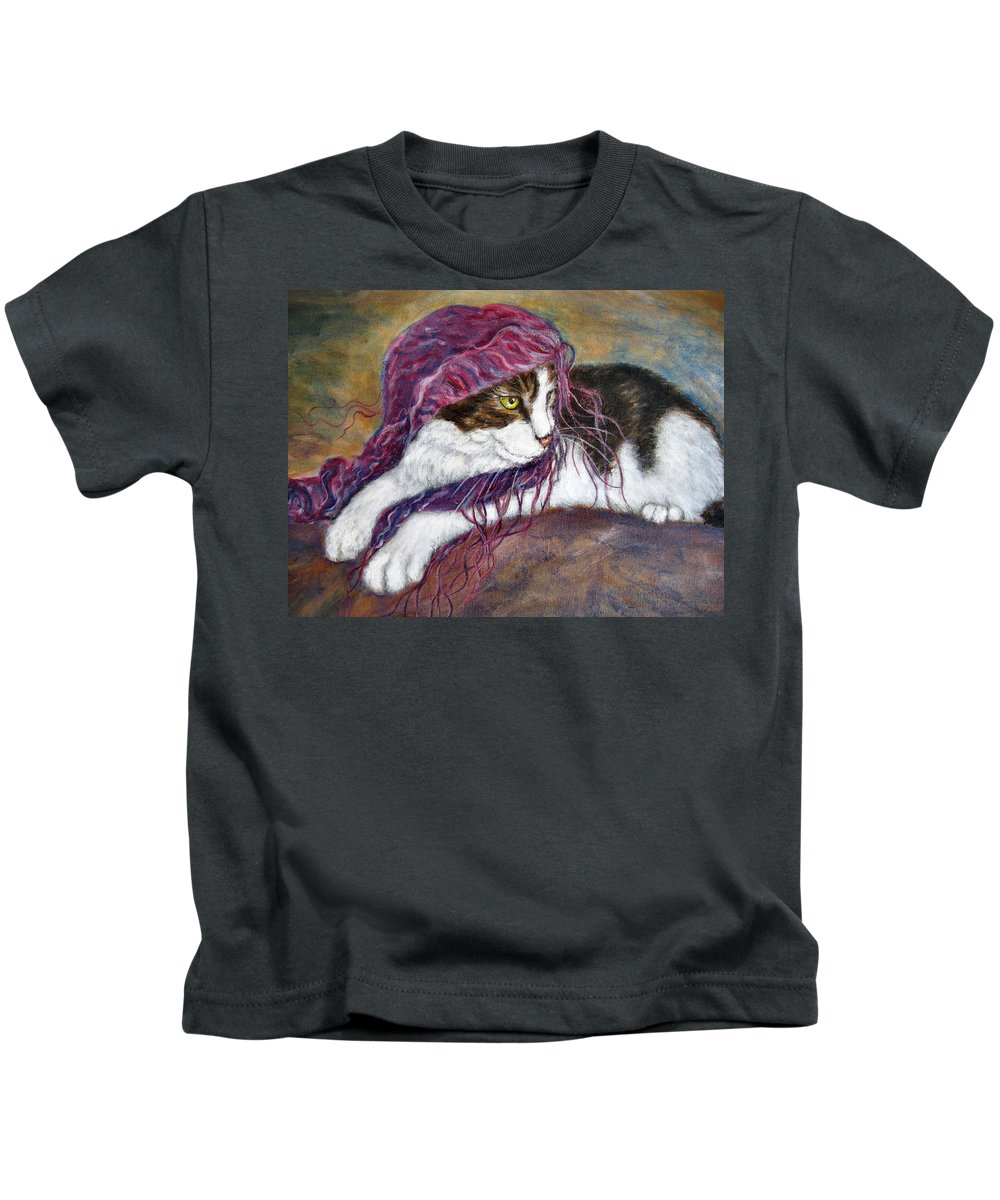 Tortoise Cat Kids T-Shirt featuring the painting Cat Painting Charlie The Pirate by Frances Gillotti
