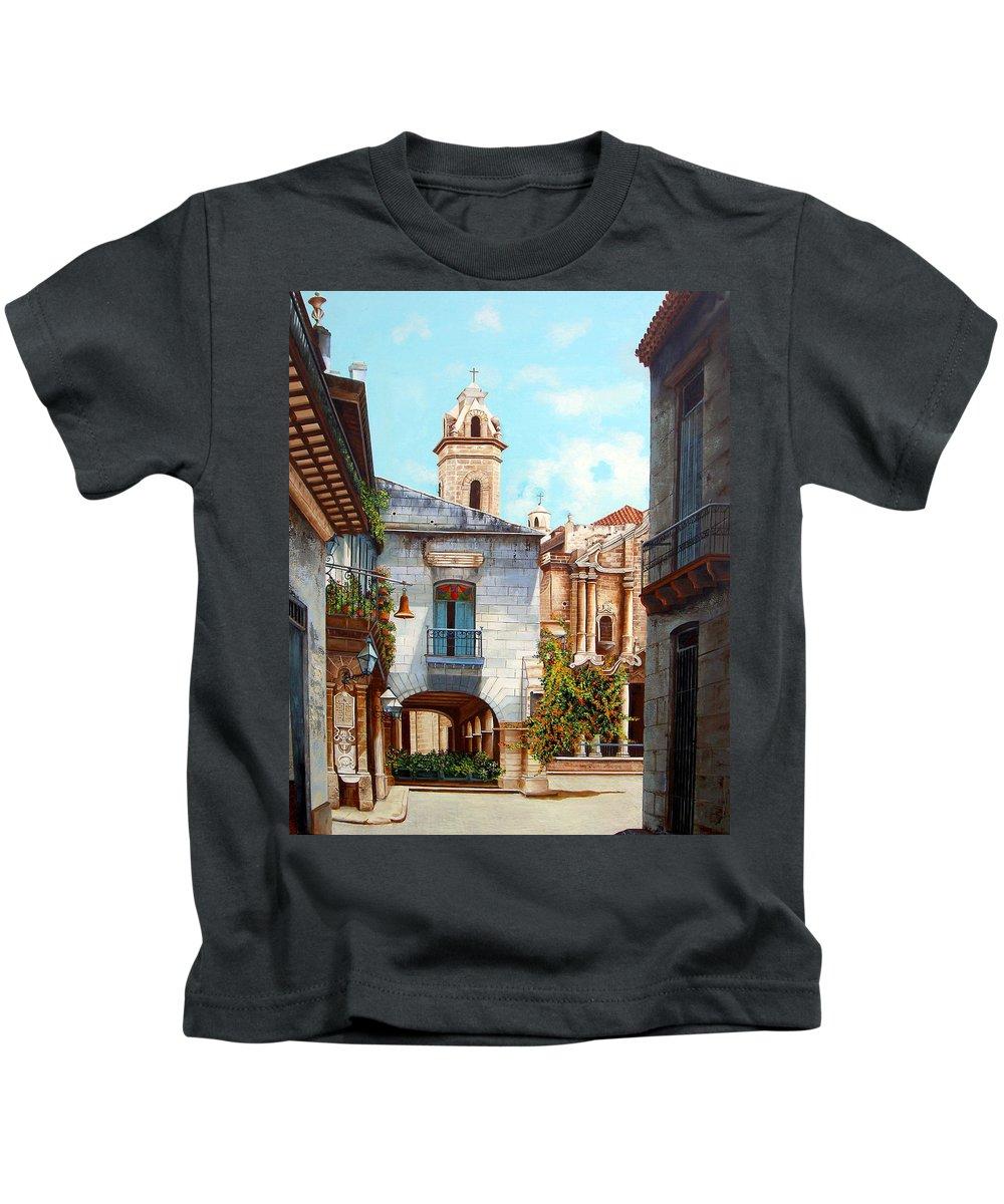 Catedral De La Habana Kids T-Shirt featuring the painting Catedral De La Habana by Dominica Alcantara