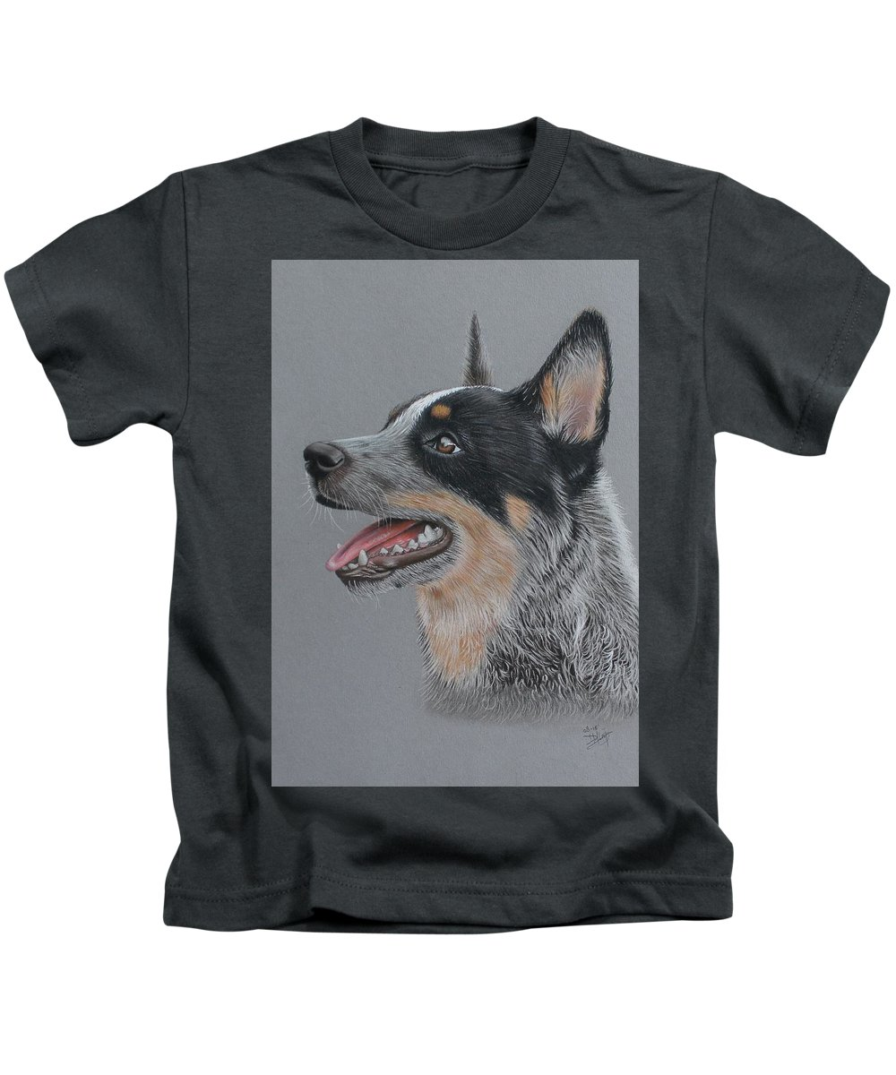 Cattle Dog Kids T-Shirt featuring the drawing Cattle Dog by Denise Nijs