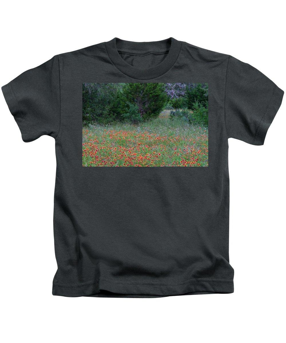 Cedar Park Kids T-Shirt featuring the photograph Cedar Park Texas Indian Blanket Carpet by JG Thompson