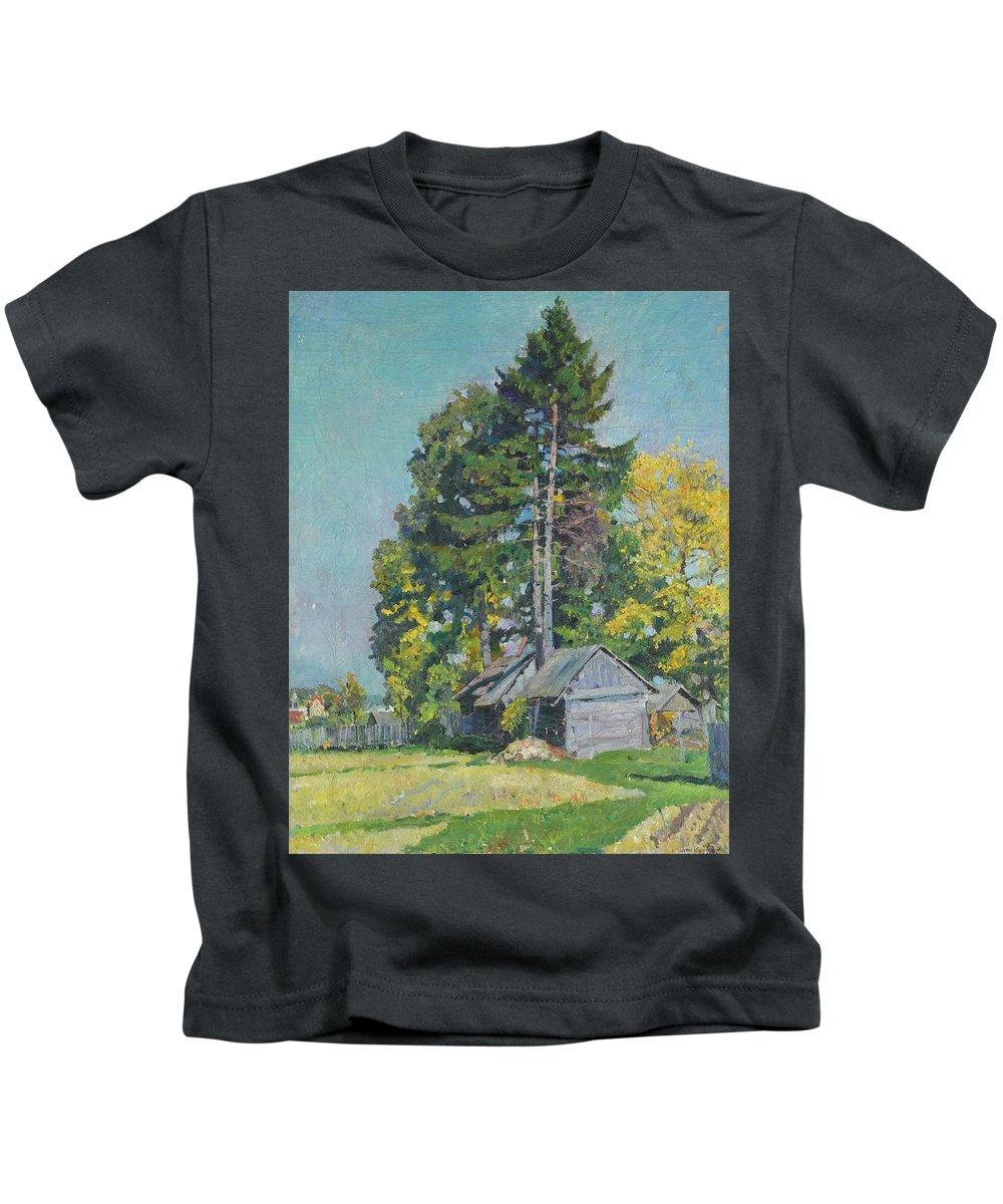 Sergei Arsenevich Vinogradov 1869-1938 Cedars Kids T-Shirt featuring the painting Cedars by MotionAge Designs