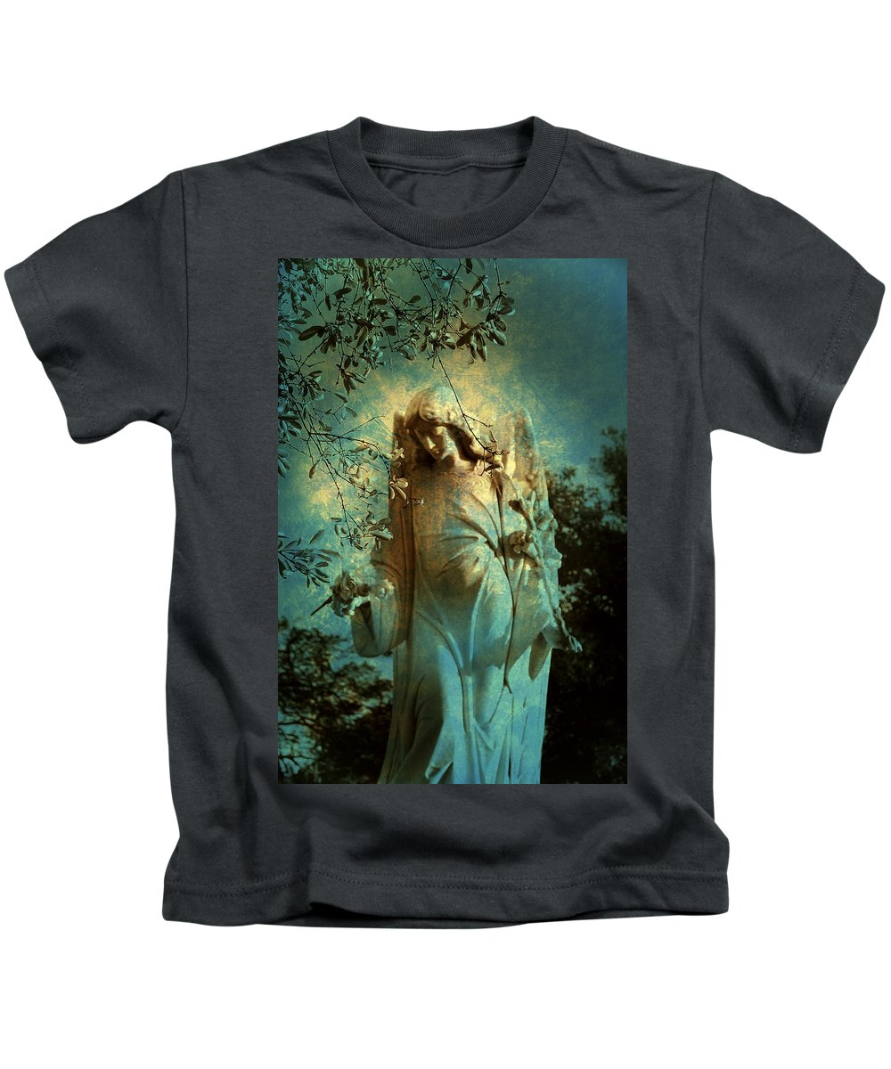 Cemetery Kids T-Shirt featuring the photograph Cemetery Angel by Susanne Van Hulst