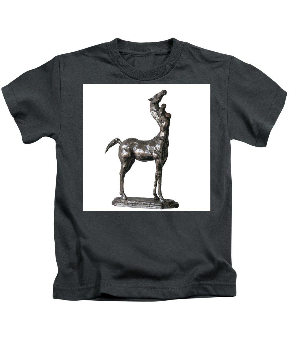 Centaur Kids T-Shirt featuring the sculpture Centaur by Igor Grechanyk