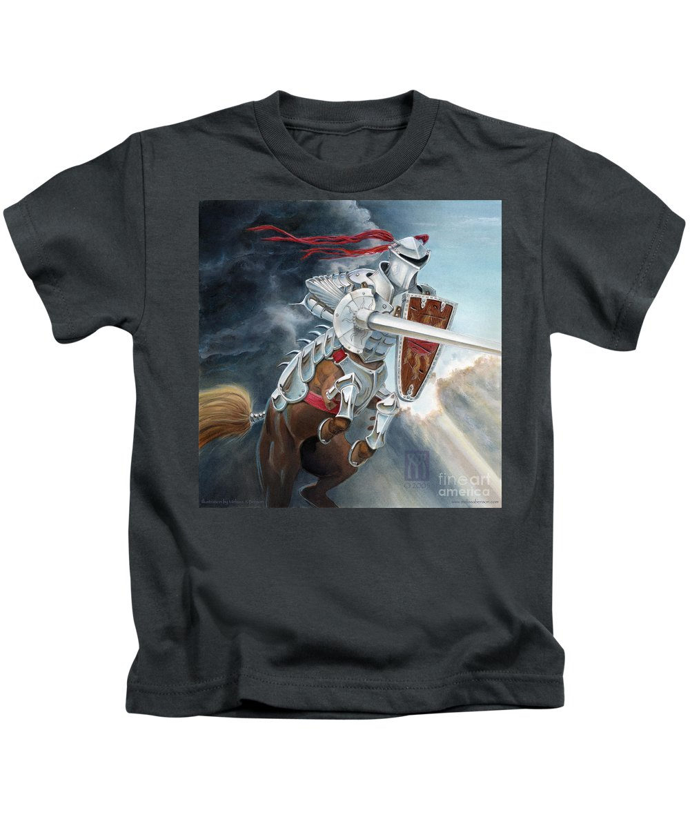 Centaur Kids T-Shirt featuring the painting Centaur Joust by Melissa A Benson