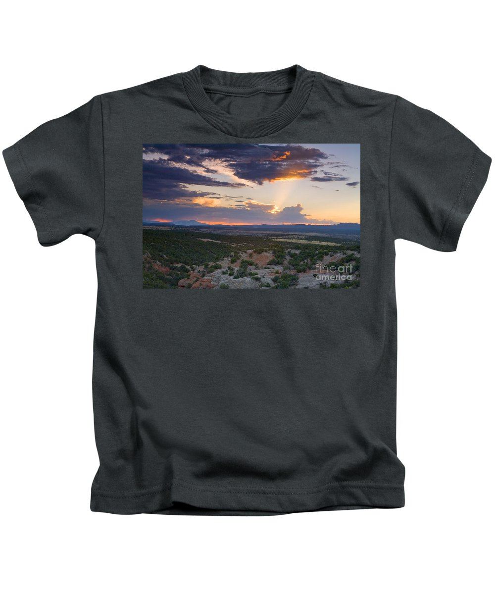 Landscape. Sunset Kids T-Shirt featuring the photograph Central New Mexico Sunset by Matt Suess