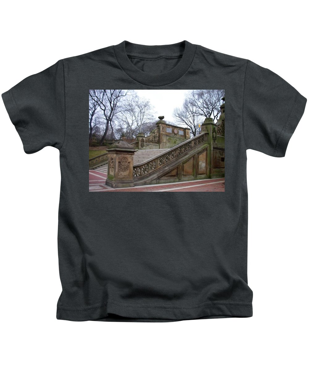 Central Park Kids T-Shirt featuring the photograph Central Park Bethesda 1 by Anita Burgermeister